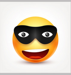 smileysmiling emoticon with mask yellow face vector image