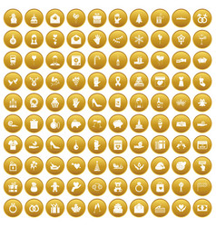 100 gift icons set gold vector