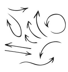 Black arrows hand drawn set vector image