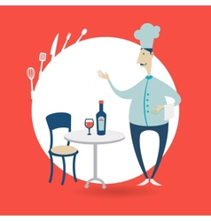 Chef standing at the table in a restaurant vector