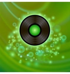 Retro vinyl disc on green background vector
