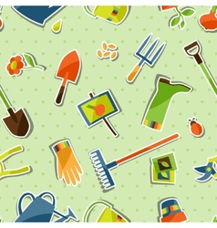 Seamless pattern with garden sticker design vector image vector image