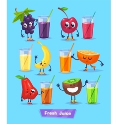 set of fruit characters and fresh juice vector image