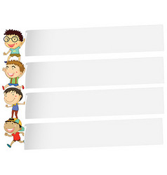 Banner design with many boys vector image