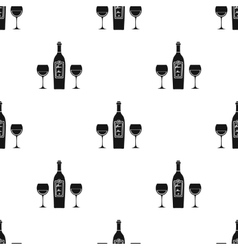 Bottle of red wine with glasses icon in black vector image