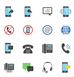 Color icon set - communication vector image