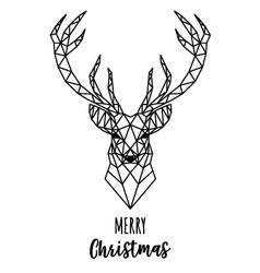 Geometric Reindeer Christmas card vector image
