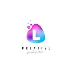 l letter dots logo design with oval shape vector image