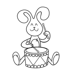 rabbit with a drum vector image vector image