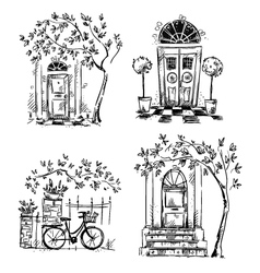 Set of architecture details drawings vector image vector image