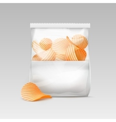 White sealed transparent plastic bag with chips vector