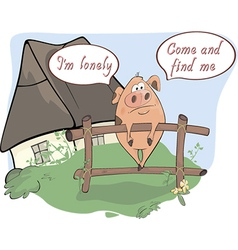 A little sad pig comics vector