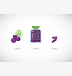Acai berries capsules flat icon set vector