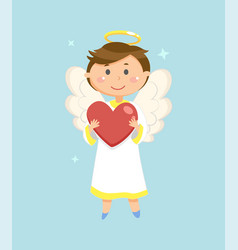 angel with heart valentines day symbol cupid vector image