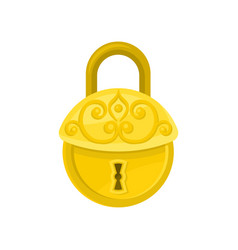 antique round-shaped padlock old golden lock with vector image