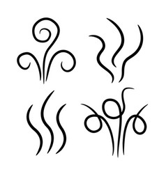 aroma steam icon set smoke fume line aromas vector image