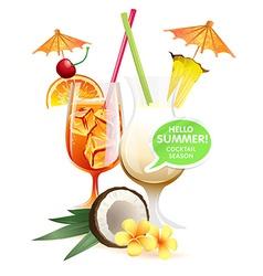 Beach tropical cocktails bahama mama and pina vector image