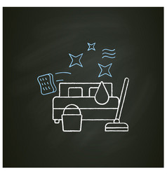 Bedroom cleaning chalk icon vector