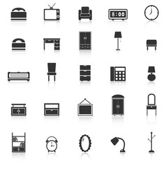 Bedroom icons with reflect on white background vector