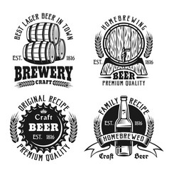 Beer and brewery vintage emblems labels badges vector