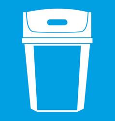 Big trashcan icon white vector