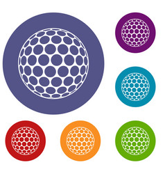 Black and white golf ball icons set vector