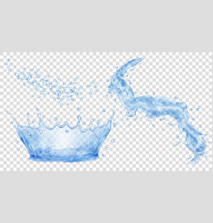 Blue water crown drops and splash of water vector