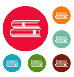 book college icons circle set vector image