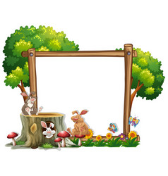 border template with two bunnies vector image