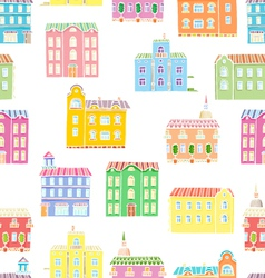Bright houses pattern vector image