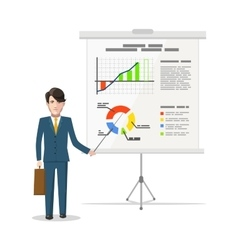 Businessman standing near whiteboard and pointing vector