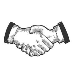 Businessmen handshake sketch engraving vector