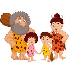 Cartoon caveman family isolate on white background vector