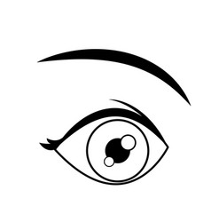 cartoon eye look eyebrow human outline vector image