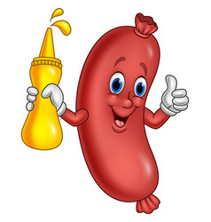 cartoon sausage holding mustard sauce vector image