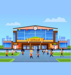Children at school building cartoon kids vector