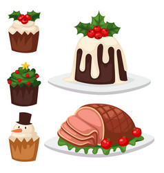 Christmas food and desserts holiday decoration vector