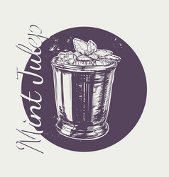 Cocktail mint julep for derby hand drawing vector