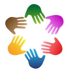 color hands around logo vector image