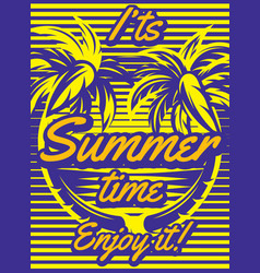 colored retro poster with palm trees to advertise vector image