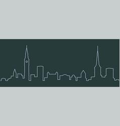 Copenhagen single line skyline vector