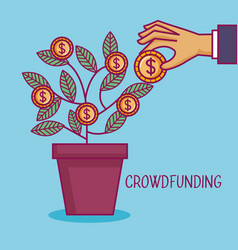 crowdfunding hand pot tree coins dollar business vector image