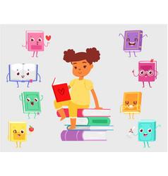 dark skinned girl sitting on pile books vector image