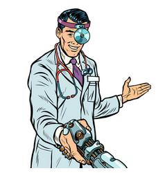 doctor surgeon handshake robot prosthesis vector image