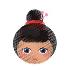 Drawing cute face kokeshi vector