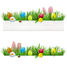 Easter border with grass vector