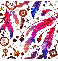ethnic feather seamless pattern in boho style vector image