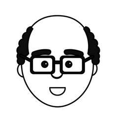 Figure happy man with facial expression vector
