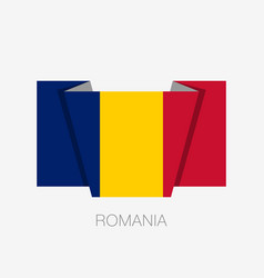 Flag of romania flat icon waving flag with vector