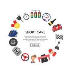 flat car racing icons in circle shape vector image